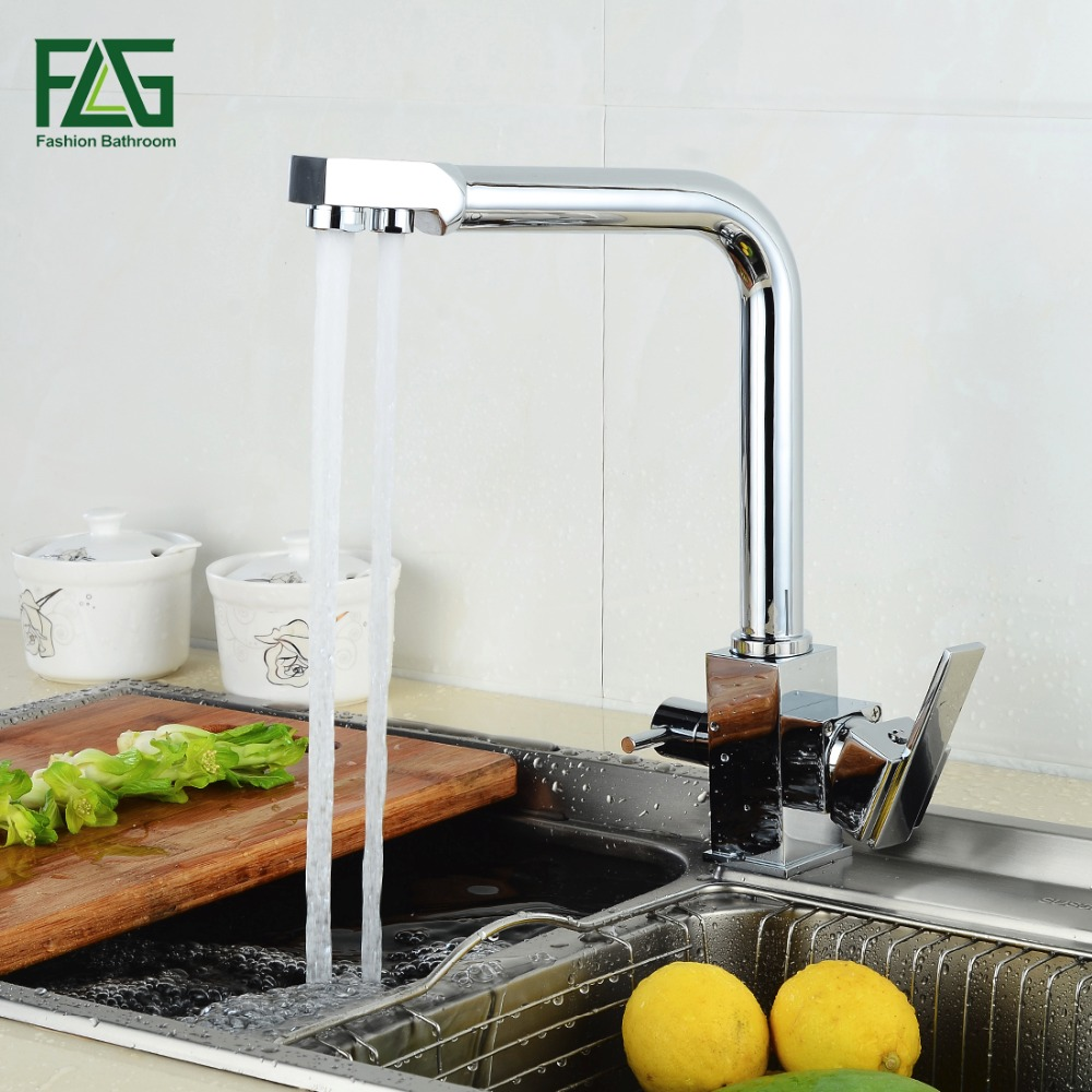 FLG Square Filter Faucets Kitchen 3 Way Water Tap Dual Lever Kitchen Taps Chrome Musluk Deck Mounted Water Purifier Faucet sognare 100% brass marble painting swivel drinking water faucet 3 way water filter purifier kitchen faucets for sinks taps d2111