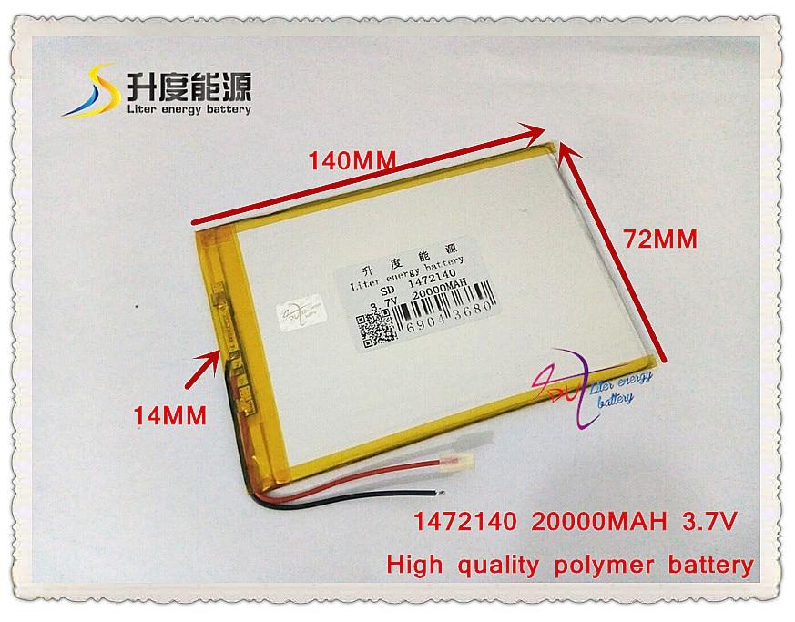 3.7V 20000mAH SD 1472140 polymer lithium ion battery / Li-ion battery for power bank,tablet pc,e-book,speaker