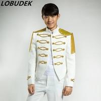 singer dancer costumes outerwear gold sparkling diamond white blazer male formal dress singer dancer fashion uniform prom bar