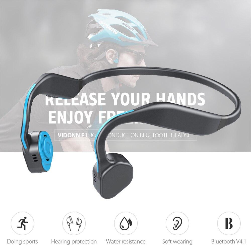 Casque Bluetooth à Conduction osseuse sans fil F1 étanche en alliage de titane contrôle du Volume du casque Flexible pour le Sport de Jogging
