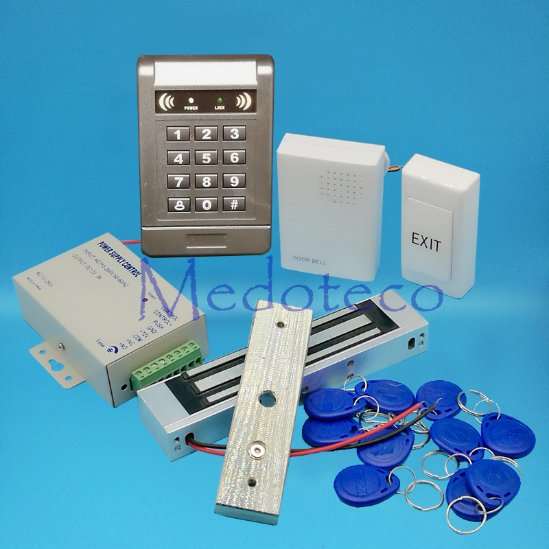 DIY Full 125khz Rfid Card Door Access Control System Kit EM Card Access Controller +180KG 350lbs Magnetic Lock + Door bell full 125khz rfid card door access control system kit em card access controller 350lbs magnetic lock u bracket for glass door