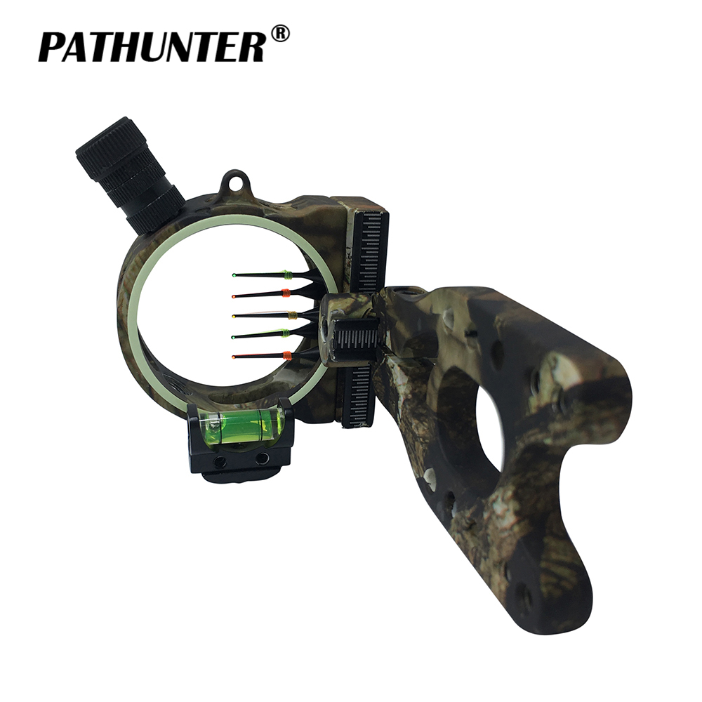 цена на PATHUNTER Bow Sight 5-PIN 0.019''W/Light Fiber Optic LED Light Sight Archery Bow Hunting Accessories Drop Shipping