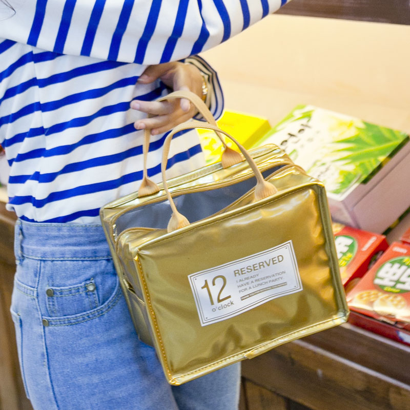 LHLYSGS Brand Fashion Portable Insulated PU lunch Bag Thermal Food Picnic Lunch Bags for Women kids Cooler Lunch Box Bag Tote