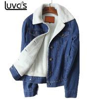 LUVCLS Winter Warm Fur Jeans Jacket Women Bomber Jacket Blue Denim Jacket Coat With Full Warm