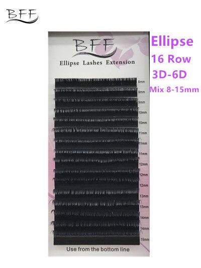 BFF Brand 10 box 16 Row Ellipse Flat Eyelashes 0 15 0 2 mix8 15mm Soft