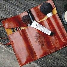 Vintage Leather Makeup Cosmetic Bag Brush Pen Pencil Case Organizer Pouch Empty Bag