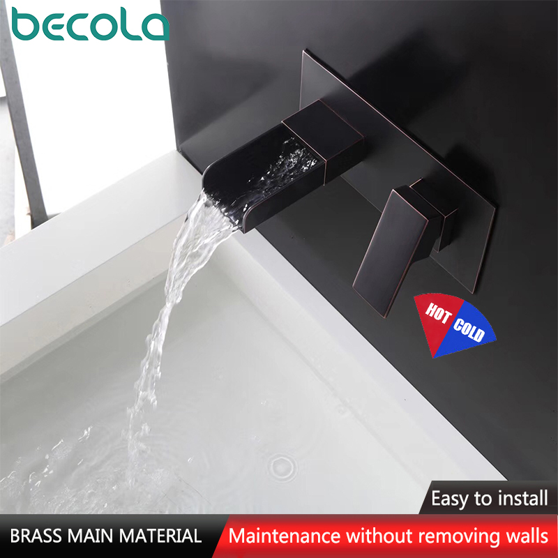 Brass Wall Mounted Basin Faucet Single Handle Bathroom Mixer Tap Hot & Cold Water Waterfall Tap Matte Black Chrome Fine Casting