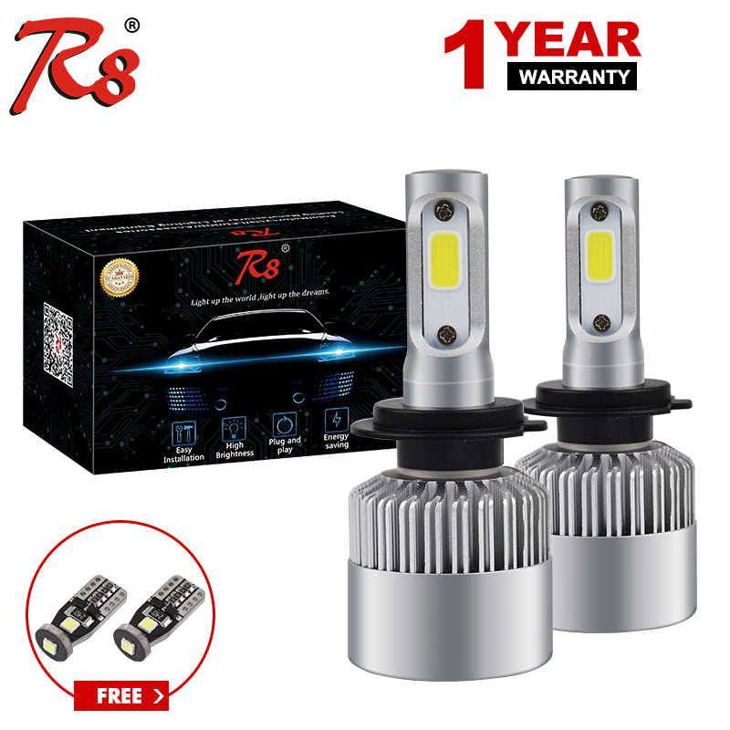 R8 Super bright Auto Car H8 H11 H7 H4 H1 LED Headlights 6500K Cool white 72W 8000LM COB Bulbs Diodes Automobiles Parts Lamp