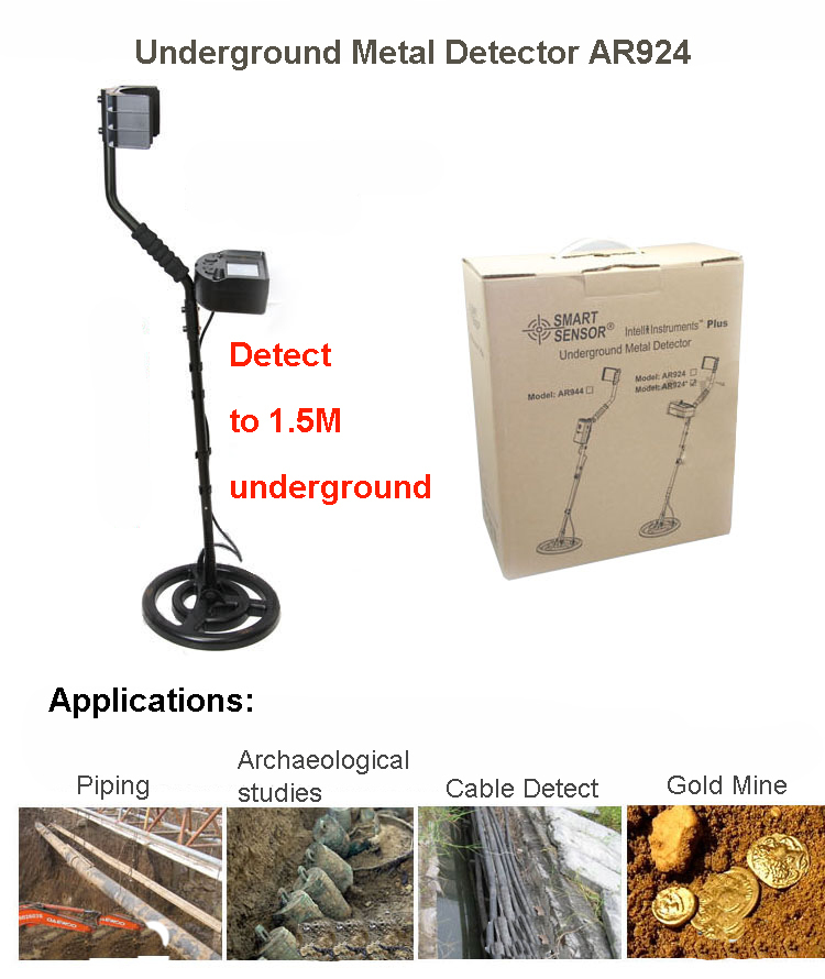 Détecteur de métaux à longue portée détecteur de métaux souterrain détecteur d'or kit de recherche de gemme au trésor Scanner de Mine Scanner Rechargeable AR924M