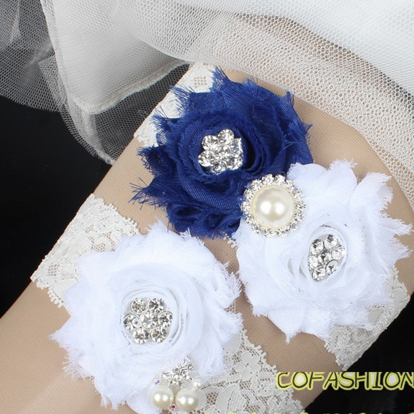 Navy Blue And White Flower Lace Wedding Garter Set Vintage