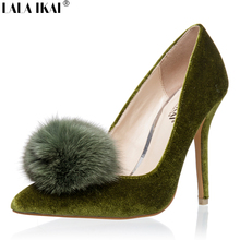 LALA IKAI Pompom Women Pumps Suede Leather Pointed Toe Thin Women High Heel Pumps Fashion Ladies Wedding Shoes 001C0924-4.5