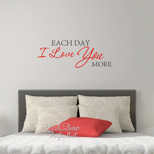 Each Day I Love You More Quote Wall Sticker Decal Cut Vinyl Stickers Removable Decors Q29