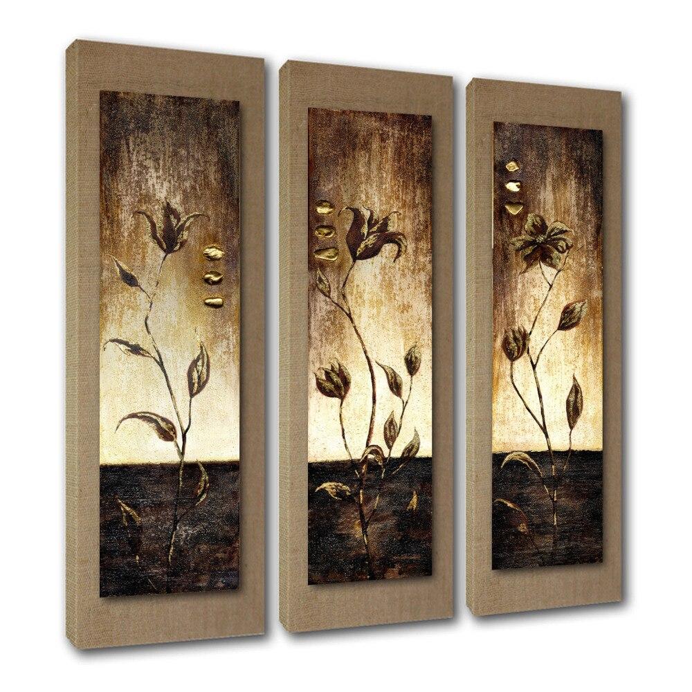 Современная 5 шт. Большая настенная живопись на холсте Абстрактная картина маслом с цветком расписанная вручную для Декорации стен комнаты - 3
