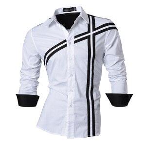Image 4 - Мужская джинсовая рубашка, повседневная приталенная рубашка с длинным рукавом, весна осень, Z006