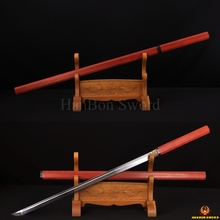 41″Clay Tempered Full Tang Japanese Samurai Hard Red Wood Sword NINJA 1095 High Carbon Steel Blade Sharp Straight Blade Custom