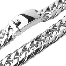 News Arrival 16mm Stainless Steel Curb Cuban Miami Chain Necklace Boys Mens Fashion Jewelry Clasp Link Silver Necklace usenset charm miami necklace stainless steel link chain silver jewelry cuban chain choker daily wear