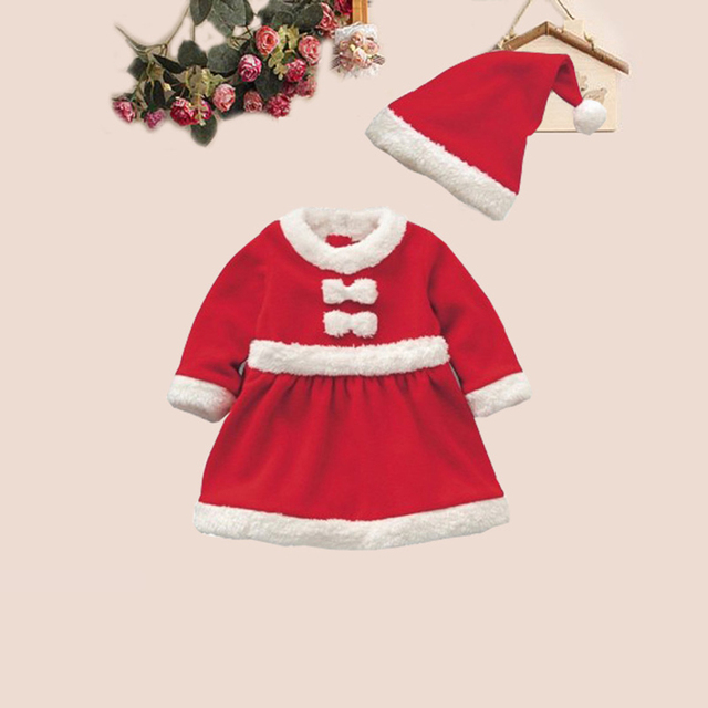 b81df954bb5af Newest Dress Christmas Cloth Children Girls Boys Santa Perform Hat Baby Kids  Costume Xmas Red White Party Clothes Set