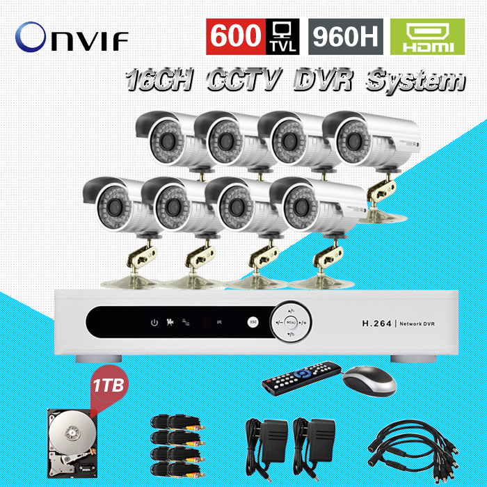 TEATE 16CH CCTV DVR system with 8 ch 600tvl Night vision waterproof video security camera 16channel kit 1tb hdd CK-224  16ch video camera recorder dvr with 16pcs outdoor waterproof ir day night vision surveillance camera 16ch security sytem dvr kit