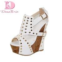 DoraTasia Brand New Big Size 34 43 Platform Wedge High Heels Gladiator Sandals Shoes Woman Fashion Rivets Party Shoes Woman