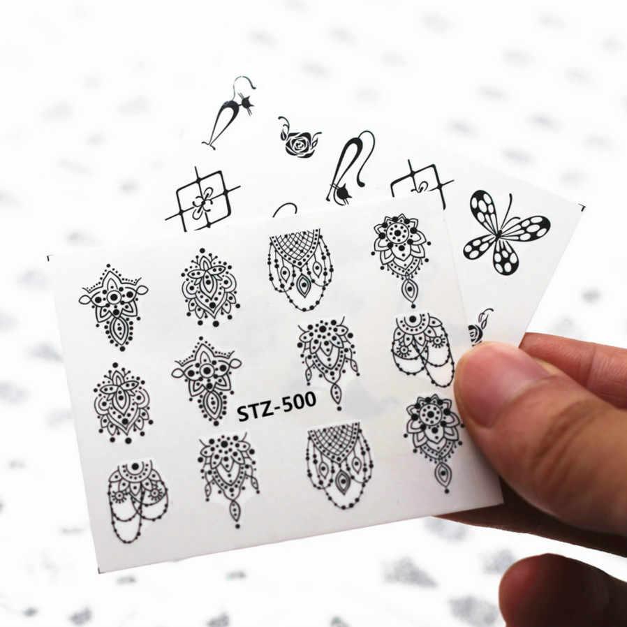 1pcs Smiling Face Snowflake Cartoon Nail Art Sticker Set Black Lace Glitter Flower Water Decal Slider Wraps Decor Manicure Ns202
