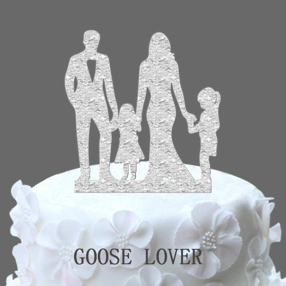 Family Wedding Cake Topper With Two Little Girl Wedding Silhouette