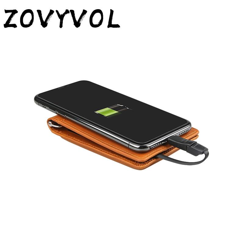 ZOVYVOL portefeuille de charge adapter pour Ipone et Android 2019 nouveau magique unisexe portefeuille intelligent avec USB type-c capacité 4000 mAh 3 couleur