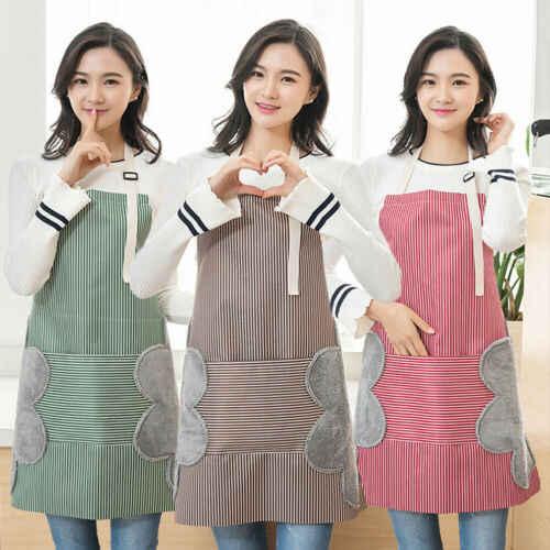 3 Colors Brief Striped Cute  Men Women Cooking Kitchen Restaurant Chef Bib Apron Classic Dress with Pocket