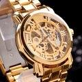 Reloj de pulsera Marca MCE reloj VOGUE unisex de Acero de Lujo de los hombres Reloj AUTOMÁTICO Esquelético Del Oro reloj Mecánico original de la caja