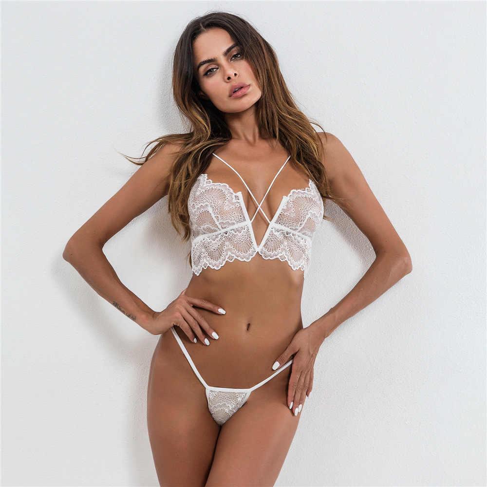 cfde5727f5 ... Ellolace Hot Sexy Lingerie Set Lace Transparent Caged Bralette V-String  Thongs Bra Set Wireless ...