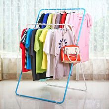 The Save Space Wrought Iron Folding Clothes Hanger Landing Type X Double Pole Racks Indoor and Outdoor Clothes Airer