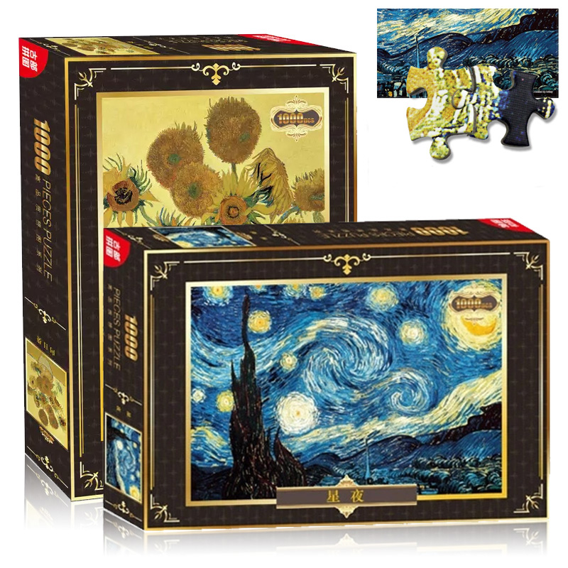 1000 Pcs/Set Diamond Puzzle Famous Painting of World Van Gogh Oil Painting Adult Kids DIY Jigsaw Puzzle Creativity Imagine Toys hand painted famous oil painting the bedroom at arles c 1887 of vincent van gogh multicolored