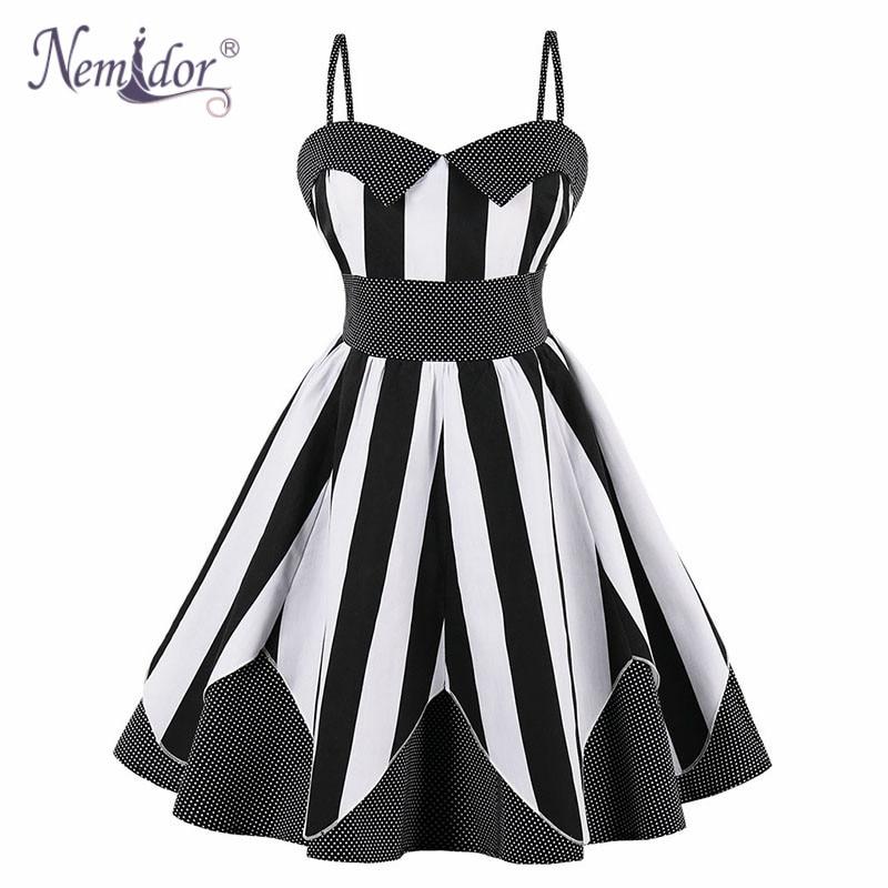 Nemidor Women 1950 Vintage Spaghetti Strap Plus Size A-line Dress Patchwork Sleeveless  Rockabilly Sexy Party Swing Dress 0b7fbc31c5ae