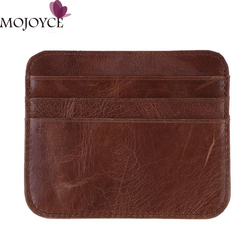 New Business Genuine Leather Unisex Card Coin Holder Slim ID Credit Case Pack 6 Card slots Simple Fashion Hot Sale Card Coin Bag