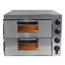 """Новая 3000 Вт Коммерческая печь для пиццы двухслойная электрическая 2x1"""" выпечки огненный камень кейтеринг"""