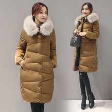 New 2016 Winter Jacket Women's Parkas Coat  Thicken Large Real Raccoon Color Fur Collar Hooded Coat Woman Outwear Top Quality