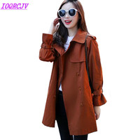 Trench Coat For Women 2018 Spring Medium Length Cotton Trench Plus Size Windbreaker Toyouth Female Loose
