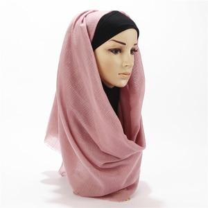 Image 5 - Bufanda de algodón y lino suave para mujer, pañuelo largo de diseño, a cuadros, musulmán, hiyabs, 20 colores, 1 ud.