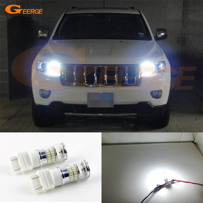 For Jeep Grand Cherokee 2011 2012 2013 2014 2015 HID headlight Ultra bright White Reflector 3157 LED Bulbs Daytime DRL led light ijdm hid white 15 smd 3535 powered 3157 t25 led bulbs for daytime running lights drl for 2011 and up jeep grand cherokee 6000k