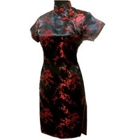 Black Red Chinese Women Traditional Dress Short Mini Qipao Cheongsam Top Flower Plus Size S M