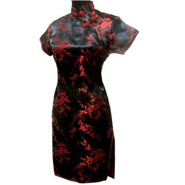 Black Red Chinese Women Traditional Dress Short Mini Qipao Cheongsam Top  Flower Plus Size S M L XL XXL XXXL 4XL 5XL 6XL MH-04 9ef1b3c8b299