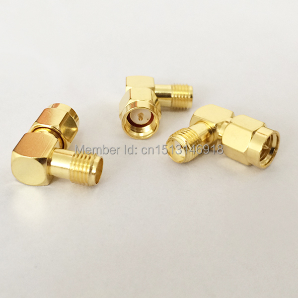 1pc SMA Male Plug  to  Female Jack   RF Coax Adapter convertor  Right  Angle  goldplated NEW wholesale купить