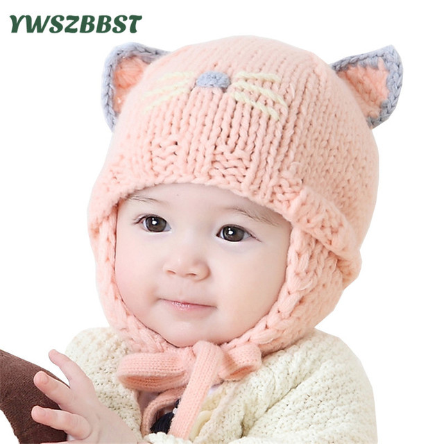 Autumn Winter Newborn Baby Hats For Girls Crochet Infant Hat With