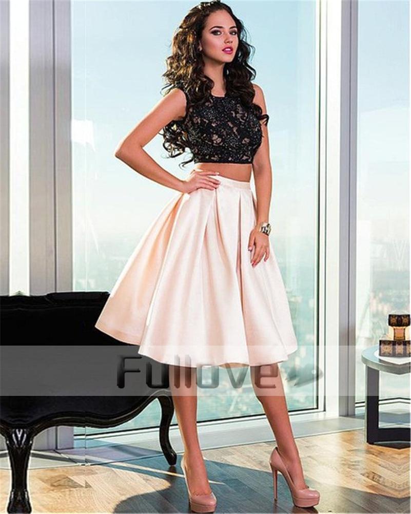 Nouvelle mode noir Appliques robes De bal 2019 perlée Backledss robe De bal a-ligne courte robe De soirée Vestido De Festa Curto Abiye