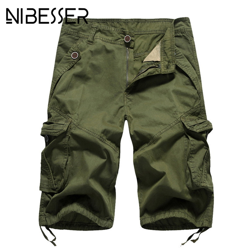 NIBESSER Summer Short Men 2018 New Fashion Elastic Waist Mens Cargo Shorts Plus Size Casual Big Pockets Patchwork Fitness Shorts