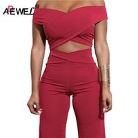 ADEWEL 2018 Sexy Bodycon Bandage Women Sets Off Shoulder Criss Cross Crop Top Long Pants Two