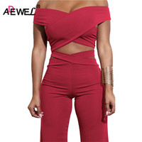 ADEWEL 2018 Sexy Bodycon Bandage Women Sets Off Shoulder Criss Cross Crop Top Long Pants Two