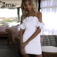 INDRESSME Sexy Off Shoulder Ruffles Bandage Dress Slash Neck Backless Spaghetti Strap Spring Women Fashion Mini Dress Vestidos