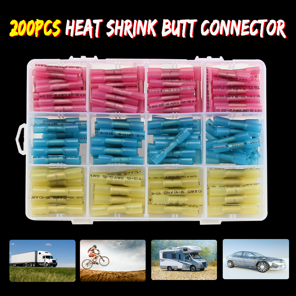 SWILET 200pcs Insulated Electrical Wire Terminals Heat Shrink Tubing Butt Connectors Kit 3 Type 10-22 AWG