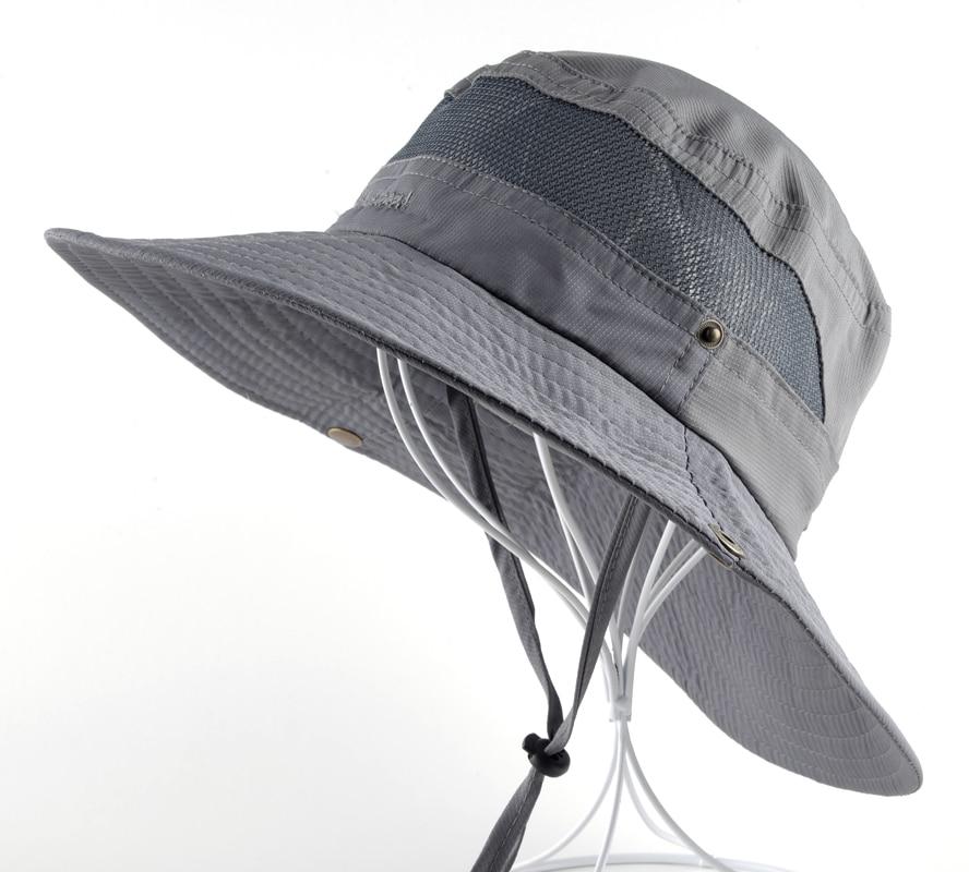 0f354cb3452569 Товар Sun Hat men Bucket Hats women Summer Fishin Cap Wide Brim UV  Protection Flap Hat Breathable mesh bone gorras Beach hat men -