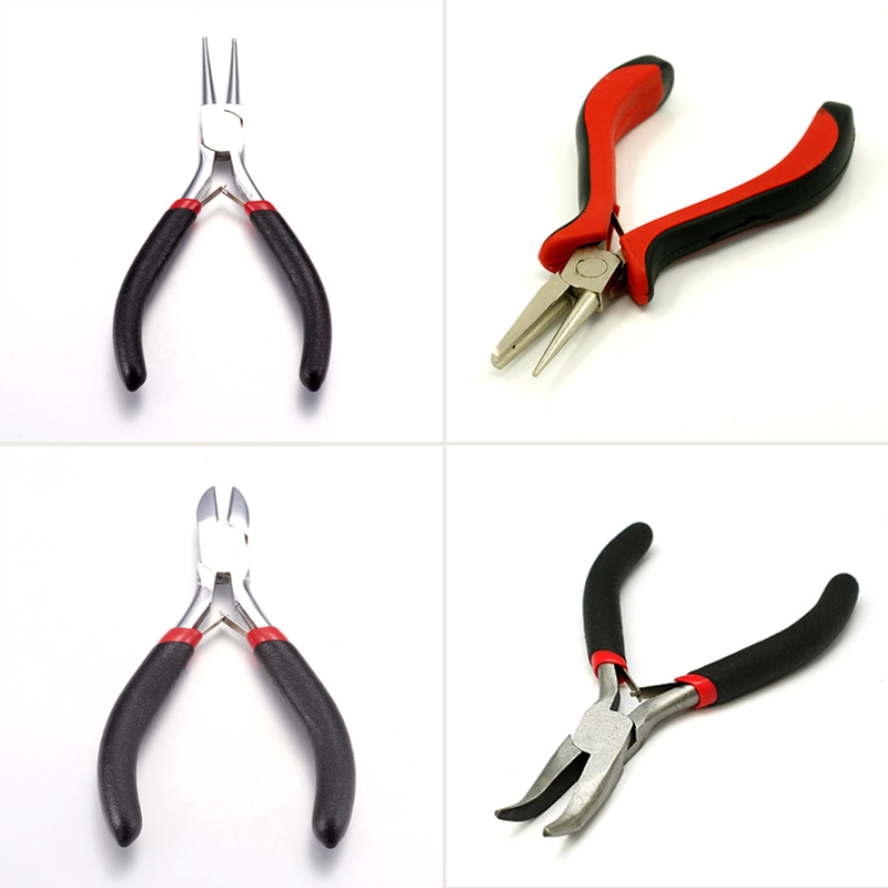 1pcs Jewelry DIY Pliers Tool Equipment Flat/Round/Bent Nose Wire-Cutter Pliers Polishing Black Gunmetal Carbon-Hardened Steel